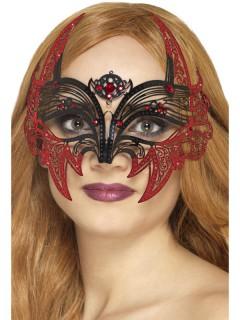 Teuflische Fledermaus-Augenmaske für den Maskenball Halloween Kostüm-Accessoire rot