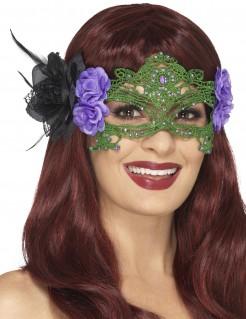 Blumen-Damenaugenmaske violett-grün