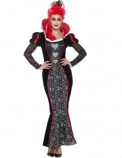 Herzkönigin-Kostüm für Damen schwarz-grau-rot