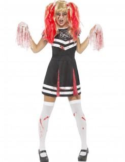 Untote Cheerleaderin Zombie-Damenkostüm schwarz-weiss-rot