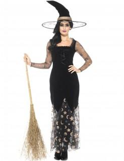 Verführerische Hexe-Halloween Damenkostüm schwarz-gold