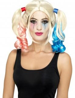 Harlekin-Damenperücke mit Zöpfen blond-blau-rot