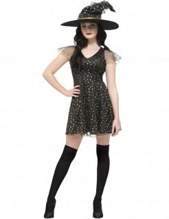 Sexy Hexe Halloween Damenkostüm schwarz-gold