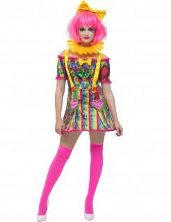 Kunterbuntes Clownskostüm mit Schleifen Zirkus-Damenkostüm bunt