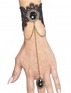 Armband mit Gothic-Ring schwarz Damen