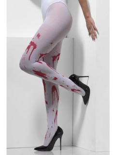 Blutverschmierte Halloween-Strumpfhose weiss-rot