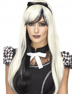 Zweifarbige Gothic-Perücke mit Haarband platinblond-schwarz