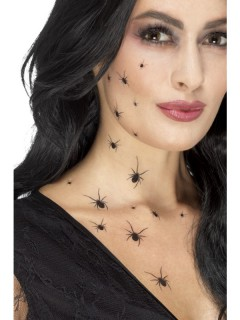 Spinnen-Tattoos Halloween-Makeup schwarz