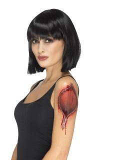 Halloween-Tattoo Reissverschluss Halloween-Wunde rot