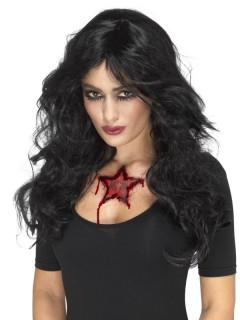 Halloween-Tattoo Blutiger Stern Horror-Tattoo rot