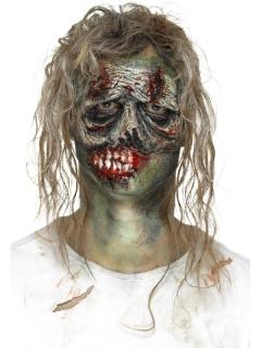 Zombiegesicht-Latexapplikation Latexprothese Zombiemaske grau