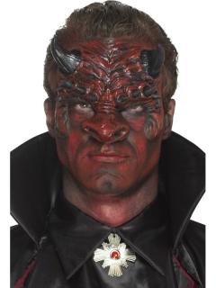 Latexapplikation Teufelsgesicht mit Hörnern rot-schwarz