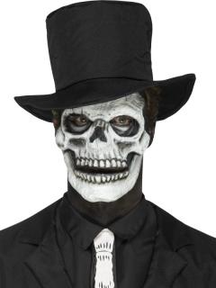 Skelettgesicht-Latexapplikation Skelettmasken-Alternative weiss-schwarz