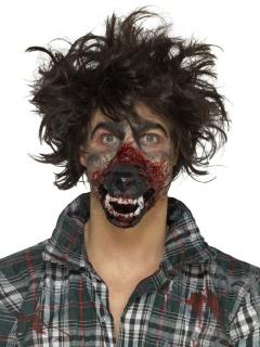 Blutige Werwolfschnauze Latexapplikation schwarz-rot