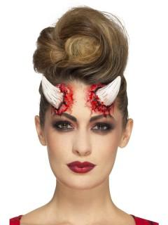 Teufelshorn-Applikation Halloween-Makeup weiss-rot