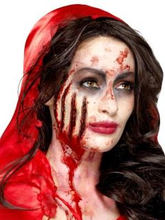 Tiefe Kratzwunden Halloween-Wunden Latexapplikationen 4 Stück rot
