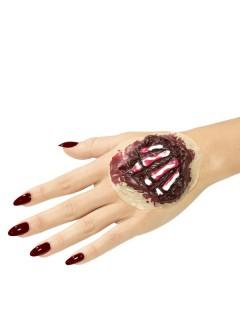 Knöcherne Hand Halloween-Latexapplikation Wunden-Applikation rot-weiss