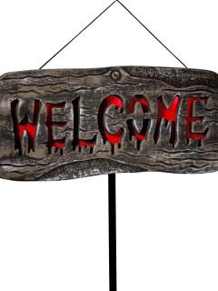 Leuchtendes Halloween-Schild Partydeko grau-rot 22x50cm