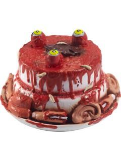Horror-Kuchen Halloween-Tischdeko rot-weiss-hautfarben 25cm