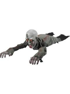 Kriechender Zombie Halloween-Puppe mit Leuchtaugen grau