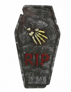 Halloween-Grabstein RIP mit Knochenhand grau-gelb-rot 63x35cm