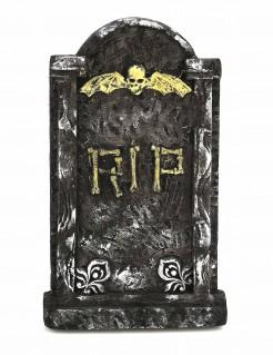 Verwitterter Grabstein RIP mit geflügeltem Schädel schwarz-weiss-gelb 63x35cm