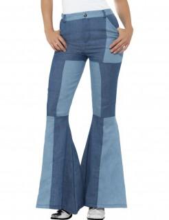 Patchwork Schlaghose für Damen im Jeans-Look blau