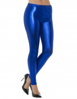 Leggings metallic-blau