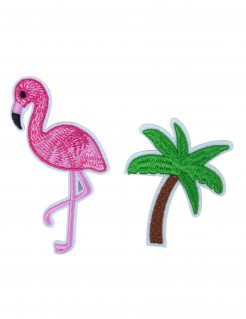 Flamingo und Palmenapplikationen 2 Stück