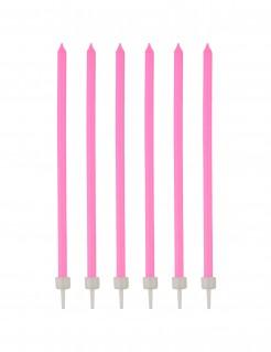 Geburtstagskerzen mit Halter 16 Stück pink-weiss 12cm