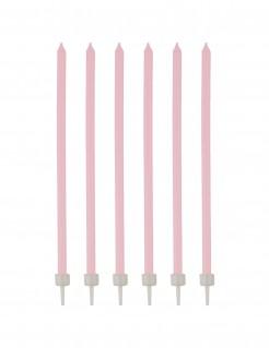 Geburtstagskerzen mit Halter 16 Stück rosa-weiss 12cm