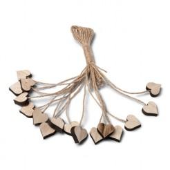 Holzherzen mit Bindfaden Tisch-Dekoration 16 Stück braun 2x2x0,7cm