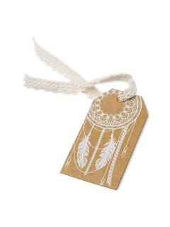 Geschenkanhänger-Set mit Federn 10 Stück braun-weiss 5x8,5cm