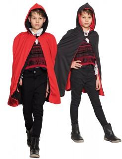 Halloween Kinder Umhang wendbar schwarz-rot