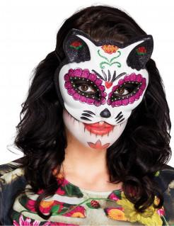 Glitzernde Katzenmaske Tag der Toten weiss-pink-schwarz