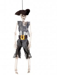 Skelettpirat Halloweenpuppe weiss-grau-schwarz 40cm