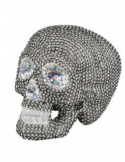 Totenschädel mit Schmucksteinen Halloween-Partydeko silber 19 x 15cm