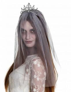 Zombiebraut-Diadem mit Schleier für Damen Halloween-Accessoire