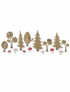 Wald-Tischdekoration 14-teilig Dekoration braun-rosa-weiss