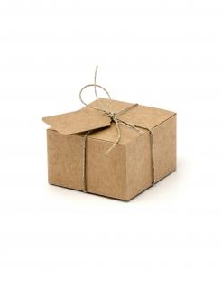 Geschenkboxen mit Etiketten quadratisch 10 Stück braun 6x5,5x3,5cm