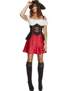 Sexy Piratin Damenkostüm braun-rot-weiss
