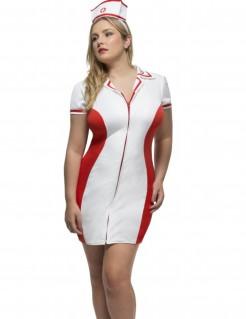 Krankenschwester-Kostüm weiss-rot