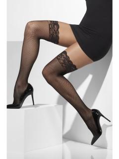 Netzstrümpfe mit Spitze für Damen schwarz