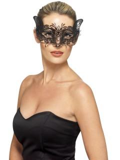 Filigrane Augenmaske aus Metall schwarz