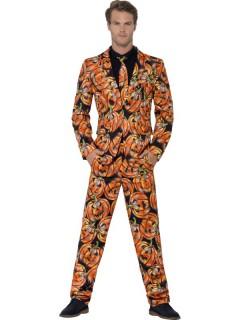 Kürbis-Herrenanzug Halloween-Outfit schwarz-orange-grün