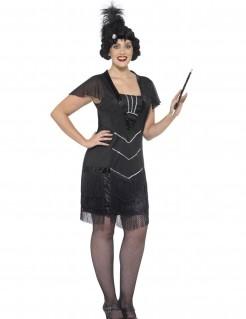 Kostüm Hut mit Fransen für Damen schwarz