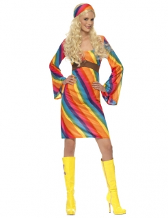 Hippie Damenkostüm Regenbogen bunt