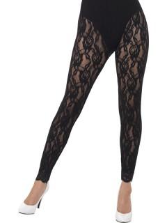 Halbdurchsichtige Damen-Leggings mit Rosenmuster schwarz