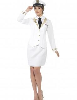 Kostüm Offizierin für Damen weiss