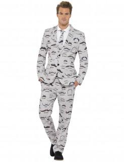 Schnurrbart-Anzug für Herren grau-schwarz